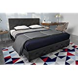 DHP Dakota Faux Leather Upholstered Platform Bed Frame with Signature Sleep Memoir 10-Inch Memory Foam Mattress Set, Black, Queen