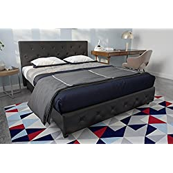 DHP Dakota Faux Leather Upholstered Platform Bed Frame Signature Sleep Memoir 10-Inch Memory Foam Mattress Set, Black, Queen