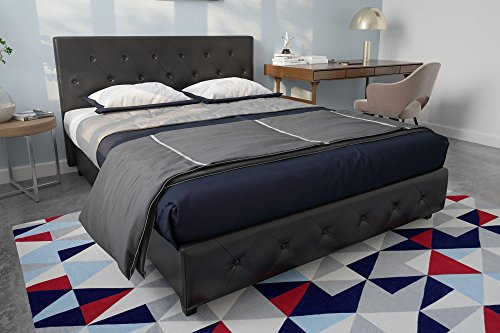 DHP Dakota Upholstered Faux Leather Platform Bed with Wooden Slat Support and Tufted Headboard and Footboard, Queen Size - Black
