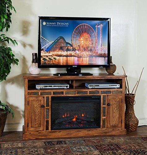 Sunny Designs K3490RO-54F Sedona Fireplace Media Console with Firebox ()