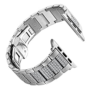 Leefrei Copper Alloy Watch Band Metal Replacement Strap with Rhinestone for Apple Watch Series 3 Series 2 and Series 1 38mm - Silver