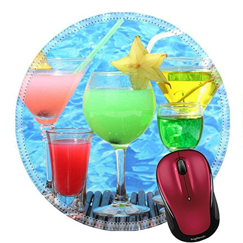 - Liili Round Mouse Pad Natural Rubber Mousepad Glasses of Cocktails on Table on Blue sea Background Image ID 12979890