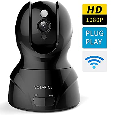 Solarice HD 1080P Wifi Wireless IP Camera Dome Camera, Pan/Tilt/Zoom Home Smart Security Camera Wifi IP Surveillance Camera with Motion Detect Two Way Audio Night Vision by Solarice