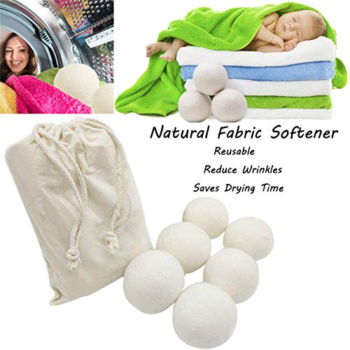 Vimbo Laundry Balls for Dryer, Wool Dryer Balls Natural Fabric Softener with 1 Storage Bag (6 Pcs)