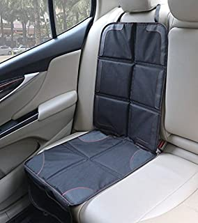 Rovtop Car Seat Protector Protects with Organiser Pockets Padded Cover Universal Size Baby and Toddler Car Seats Anti-Slip Forward and Rear Facing Child Seat Liner Heavy Duty Stain Protection