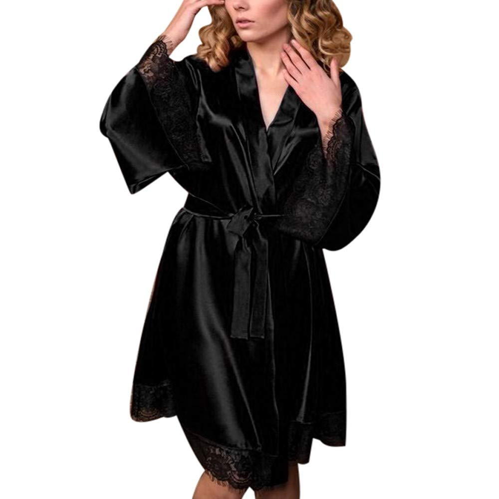Women Nightdress Sexy Silk Kimono Dressing Gown Bath Robe Babydoll Lingerie Set Chaofanjiancai