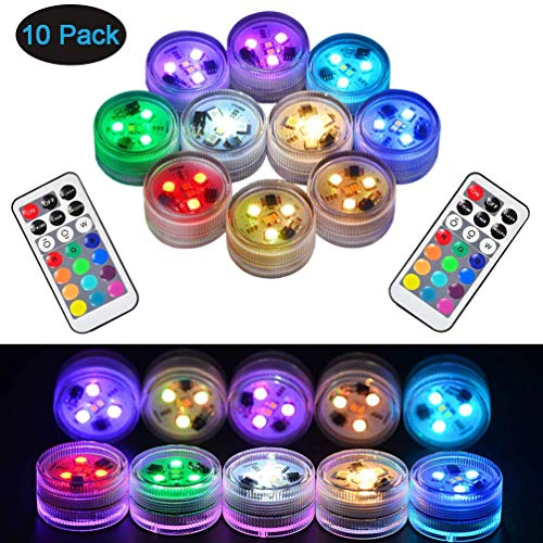 - Sxstar 10pcs Submersible LED Lights,Waterproof Underwater Lights,Battery Powered RGB Colour Changing Tea Lights with IR Remote Control for vase, Bowls, Aquarium and Party Decoration
