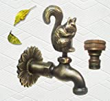 Brass Squirrel Garden Outdoor Faucet with a Brass Connecter - 3/4'' Inches Pipe Thread