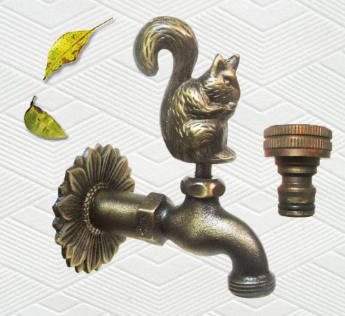 Brass Squirrel Garden Outdoor Faucet with a Brass Connecter - 3/4'' Inches Pipe Thread by Taiwan