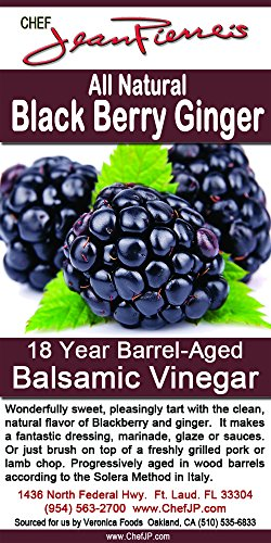 Blackberry Ginger Traditional Barrel Aged 18 Years Italian Balsamic Vinegar 100% All Natural 1 Dark color, syrupy consistency, rich aroma and complex flavor Aged in 6 types of wood for a minimum of 18 years 100% natural, NO sugar added, NO preservative of any kind
