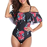 Tempt Me Women One Piece Vintage Printed Off Shoulder Flounce Ruffled Printed Monokini Swimsuits Black Floral XL