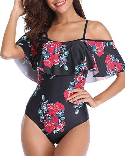 Tempt Me Women's One Piece Swimsuit Vintage Off Shoulder Flounce Ruffle Bathing Suits Black Floral S