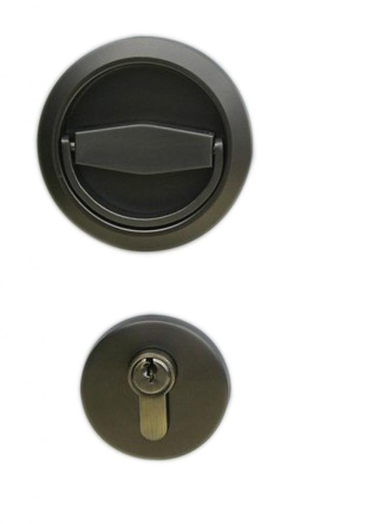 UniDecor Stainless Steel 304 Recessed Cup Handle Privacy Door Locks and Key Finished Ash Black (D: 2.95 inch Thickness: 0.52 inch)