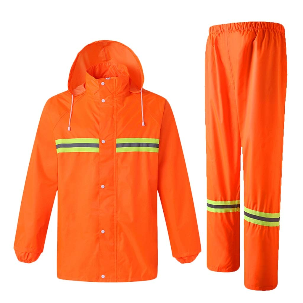 orange XX-Large orange XX-Large Reflective Clothing Thicken Clothes Adult Reflective Raincoat Rain Pants Outdoor Split Waterproof Clothing Safety Vest (color   orange, Size   XXL)