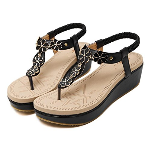 KHSKX-Beach Sandals Summer With New Low Hill With Sweet Leisure Flowers Clip Toe Sandals Black 5.5Cm High Sandals 36 R4fjrmubLN