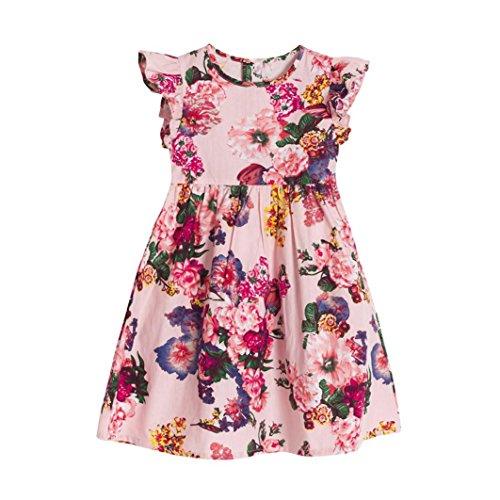 Goodlock Toddler Kids Infant Dress Baby Girls Floral Sleeveless Party Clothes Princess Dress (Pink, Size:6T)