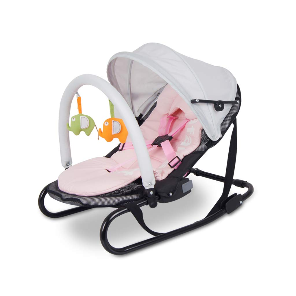 HYYTY-Y Baby Rocking Chair, Folding Pad for Winter and Summer Can Be Cleaned with Mosquito Net Awning Cradle 606-YY (Color : Pink) by HYYTY-Y
