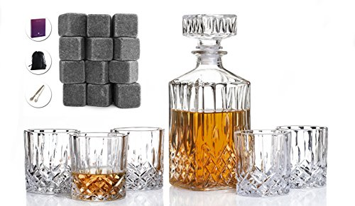 Chilling Decanter (Lac Larde Beautiful Whiskey Decanter and Chilling Rocks Gift Set)