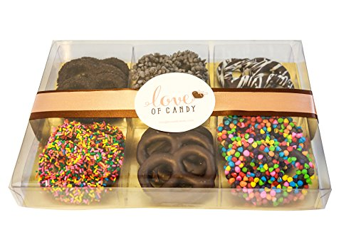 - Love of Candy Gourmet Chocolate Covered Pretzel Gift Box, Dark Chocolate - Small