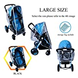 Baby Stroller Rain Cover Weather Shield Accessories Universal Size Protect from Rain Wind Snow Dust Insects Water Proof Ventilate Clear Food Grade Materia EVA Plastic Zipper Black White (white, large)