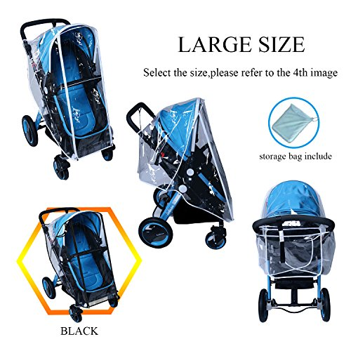 Baby Stroller Rain Cover Weather Shield Accessories Universal Size Protect from Rain Wind Snow Dust Insects Water Proof Ventilate Clear Food Grade Materia EVA Plastic Zipper Black White (black, large) - coolthings.us