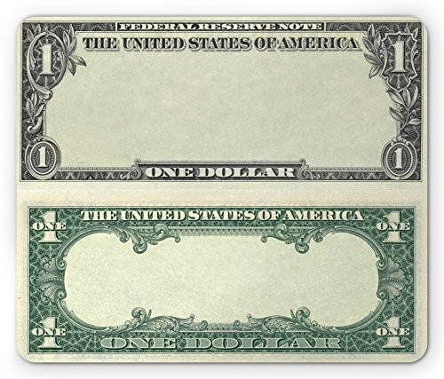 Money Mouse Pad by Ambesonne, One Dollar Bill Buck Design American Federal Reserve Note Pattern Wealth Symbol, Standard Size Rectangle Non-Slip Rubber Mousepad, Pale Green Grey