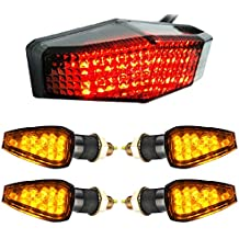 Set RED Integrated 15-LED Brake Stop Running Tail Light+ 4X AMBER Turn signal Side Maker Lamps