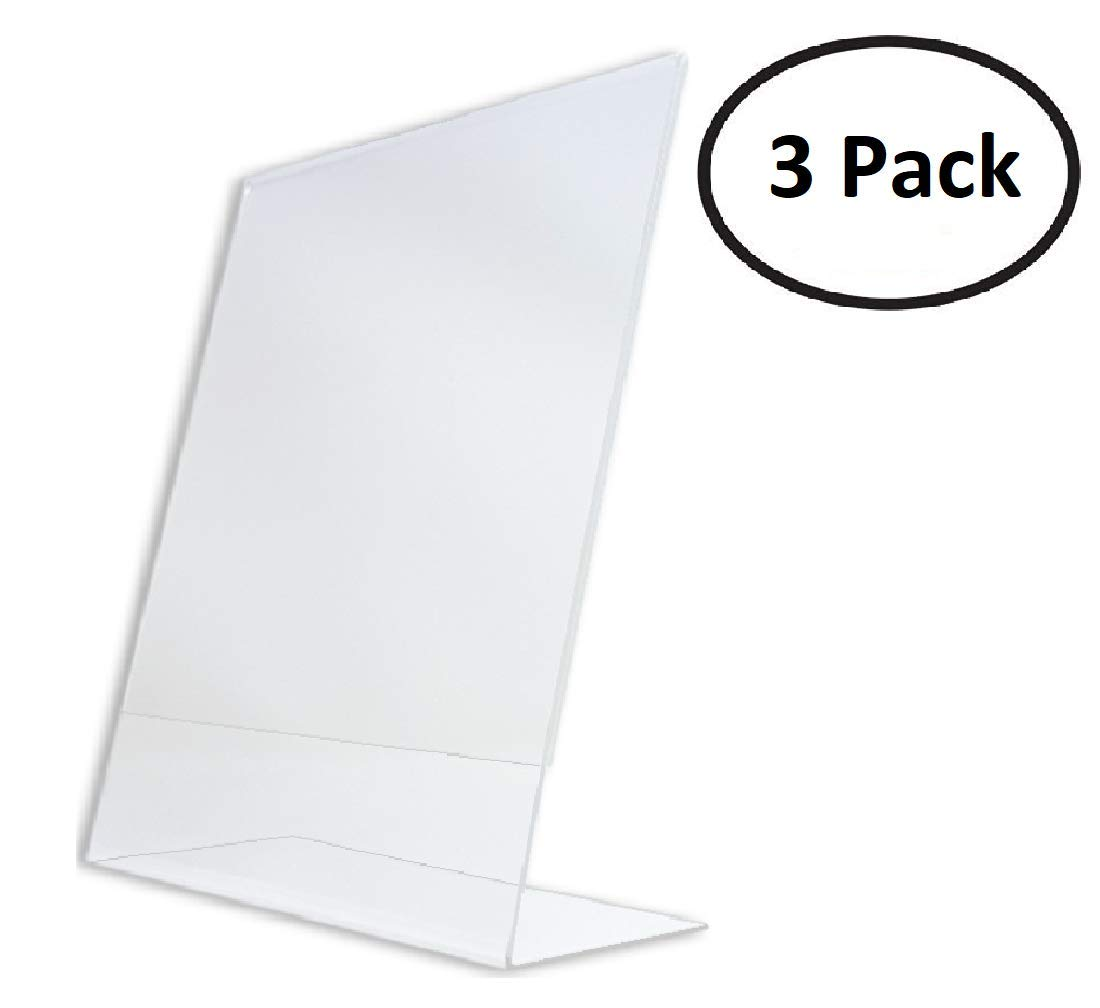 T'z Tagz Brand 8.5 X 11 Inch Clear Acrylic Plexi Sign Holders - Single Sheet Slanted Easel 8-1/2X11 (3)