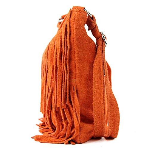 a in vera bag a tracolla borsa mano donna Borsa shopping T02 italiana pelle Orange wnatq8zp