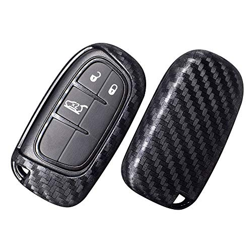 Ceyes Car Key Fob Cover Remote Key Cover Smart Key Cover Carbon Fiber Texture Key Cover for Dodge Journey Charger Challenger Dart Durango JCUV RAM Jeep Grand Cherokee Renegade Chrysler 200 300-2pcs (Carbon Fiber Smart Cover)