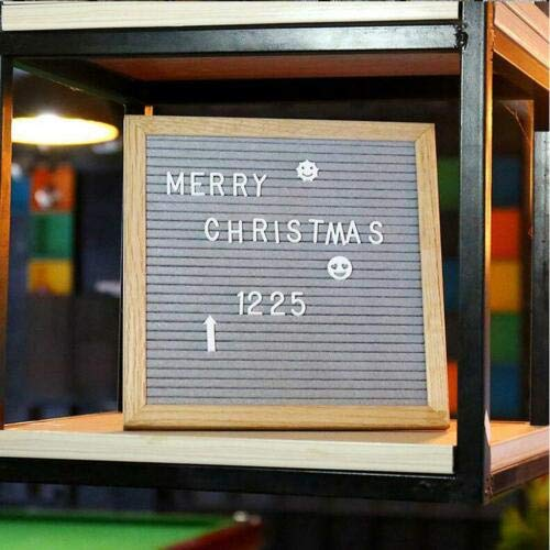 "FidgetGear Felt Letter Board Sign with 340 Changeable White Characters 10"" x 10"" Wood Frame Gray from FidgetGear"