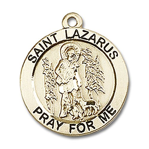 14kt Yellow Gold St. Lazarus Medal 3/4 x 3/4 inches ()