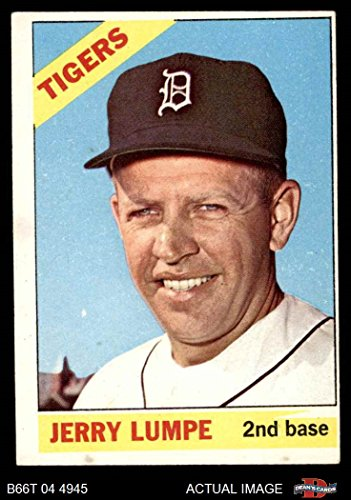 Wdg Base (1966 Topps # 161 WDG Jerry Lumpe Detroit Tigers (Baseball Card) (White wedge in yellow over 2nd Base) Dean's Cards 4 - VG/EX Tigers)