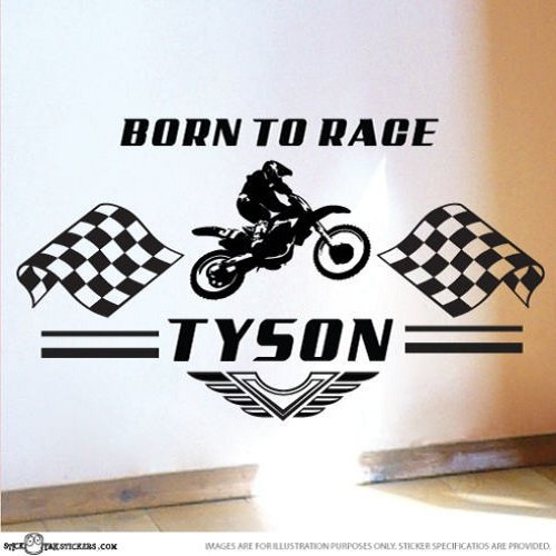 - Custom Name BORN TO RACE Automobile Motorcycle Wall Decal Living Room Decor Bike vinyl wall sticker decor-customized name & color