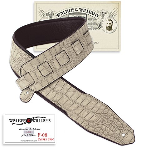 Walker & Williams F0-8 Natural Tanned Croc Padded Guitar Strap 2 3/4