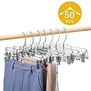 HOUSE DAY 50 Pack 14 inch Clear Plastic Skirt Hangers with Clips, Skirt Hangers, Clip Hangers for Pants,Trouser Bulk Plastic Pants Hangers