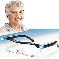 BJT Bril met ledverlichting, leeselupe, oplaadbare USB-bril met 160% vergroting, geschikt voor lezers, dames, heren en…