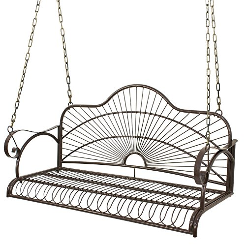 BBBuy Iron Patio Hanging Treated Porch Swing Chair Bench Outdoor Garden Seat Glider Metal Swing Furniture Yard w/Chains 2 Person