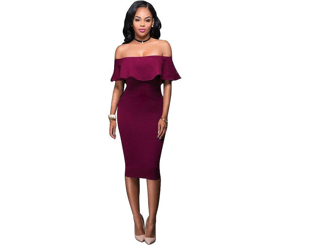 5dd2a49ae Vestidos de Fiesta de Noche Elegantes De Mujer Rojos Casuales Cortos  Pegados Al Cuerpo VE0024 at Amazon Women s Clothing store