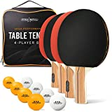 PRO SPIN Ping Pong Paddle Set - Premium Paddles/Rackets, 3-Star Ping Pong Balls, Zippered Storage Case | Professional Table Tennis Set for All Levels | Indoor & Outdoor Games