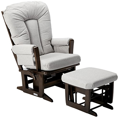 Dutailier Modern Glider - Dutailier Modern Glider-Multiposition, Coffee/Pebble Grey, Recline and Ottoman Set