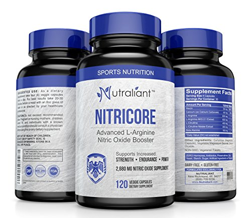 Nitric Oxide Supplements For Men - EXTRA Strength 2,680mg L Arginine NO Booster with L Citrulline + Beta Alanine – Preworkout Pill Increases Blood Flow, Gain Muscle Size & Strength 120 Veggie Capsules by Nutraliant