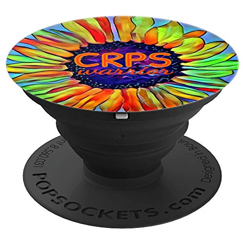 CRPS Awareness Fire Orange Sunflower Warrior RSD Survivor - PopSockets Grip and Stand for Phones and Tablets