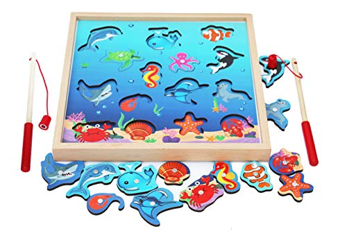 Wooden Fishing Game-Magnetic Fishing Puzzles with Numbers Jigsaw Puzzle- Sea Creatures Kids Fishing Game Educational Toys for 3 Years Old