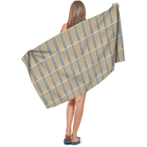 (ZHIDAONNU Unisex Man Stripe White Design Soft Absorbent Cute Sport Beach Bath Towel 31.5