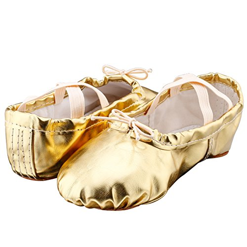 Dames Pu Ballet Dansschoenen Met Split Soft Sole Gold