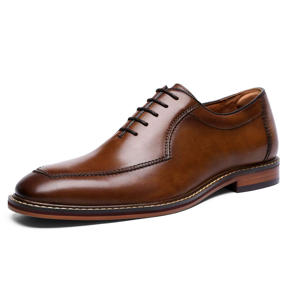 Brown DESAI Men's Business Casual Formal Dress Oxfords Leather shoes
