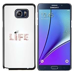 Caucho caso de Shell duro de la cubierta de accesorios de protección BY RAYDREAMMM - Samsung Galaxy Note 5 5th N9200 - MENSAJE TIPOGRAFÍA VIDA