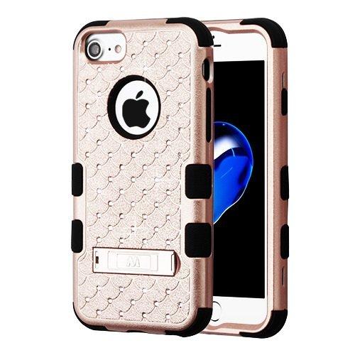 ShopAegis - [HYBRID RHINESTONE] [Rose Gold/Black] Sparkle Web Pattern Shockproof Armor Phone Cover Case for Apple iPhone 8/7 by ShopAegis (Image #2)