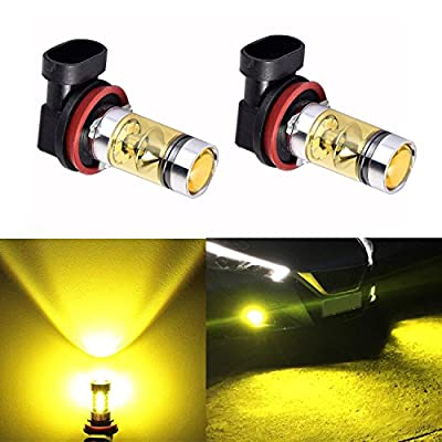 LED Fog Light Bulbs H11 H8 H9 LED Foglights Lamps Replacement Extremely Super Bright High Power 100W 3000K 2323 SMD LED Bulbs for Fog light DRL Yellow New Version Headlights (Pack of two bulbs)